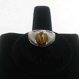 Mens silver tigers eye ring Size 11 electro plated